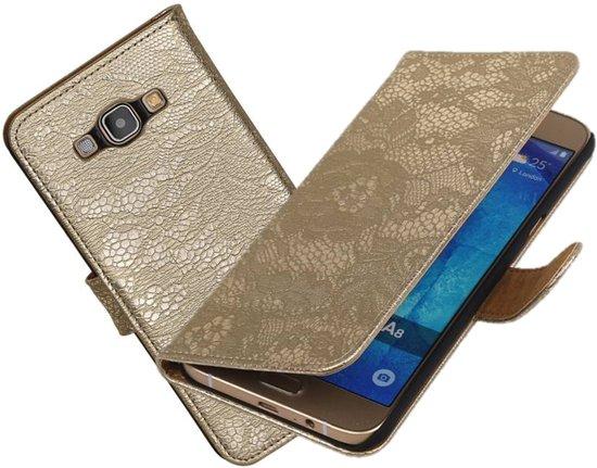 MP Case - Goud bloem bookcase voor de Samsung Galaxy A8 wallet hoes in Zeeland