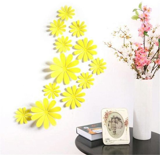 bol.com   3D Bloemen Geel (12 Stuks) - Muursticker / Muurdecoratie ...