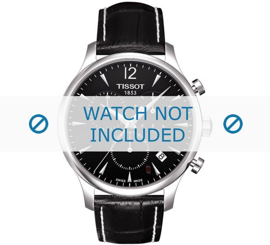 Horlogeband Tissot T063.617.A / T0636171605700A / T610031122 / T600031121 Croco leder Zwart 20mm