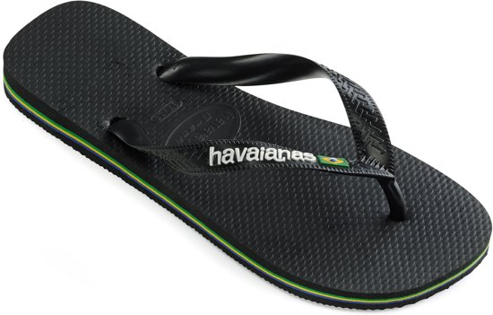 46 Slippers Havainas 45 Black Logo Brasil zxnxY1