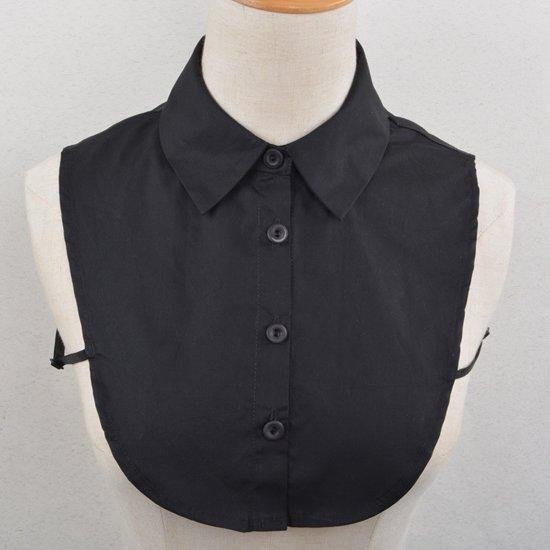 zwarte blouse witte kraag