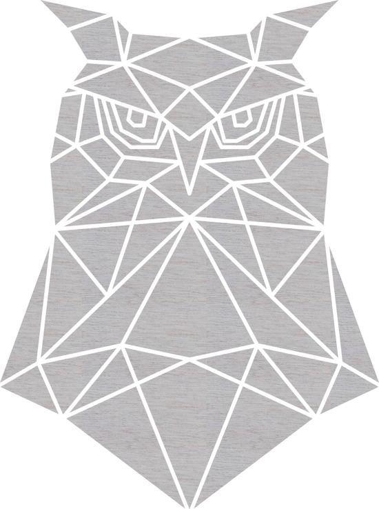 Uil Geometrisch Vlak Hout 40 x 53 cm Grey wash - Wanddecoratie