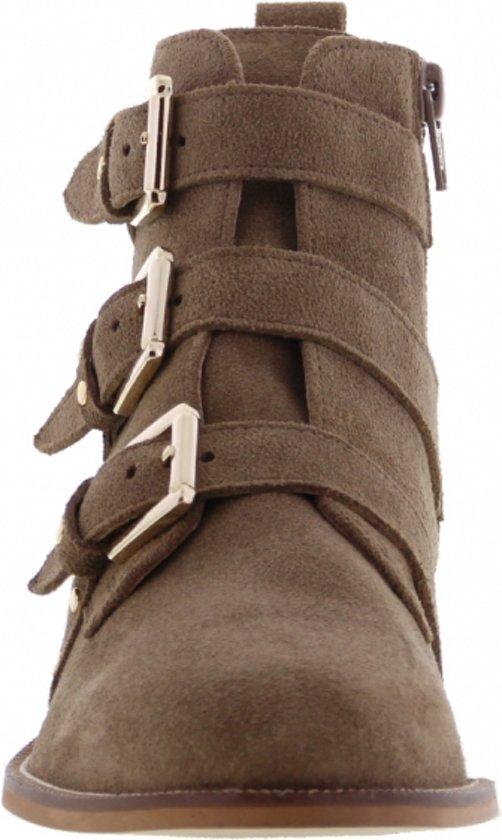 Tango | Pleun 52-c Taupe Suede /studs Straps - Wooden Heel/sole Maat: 37