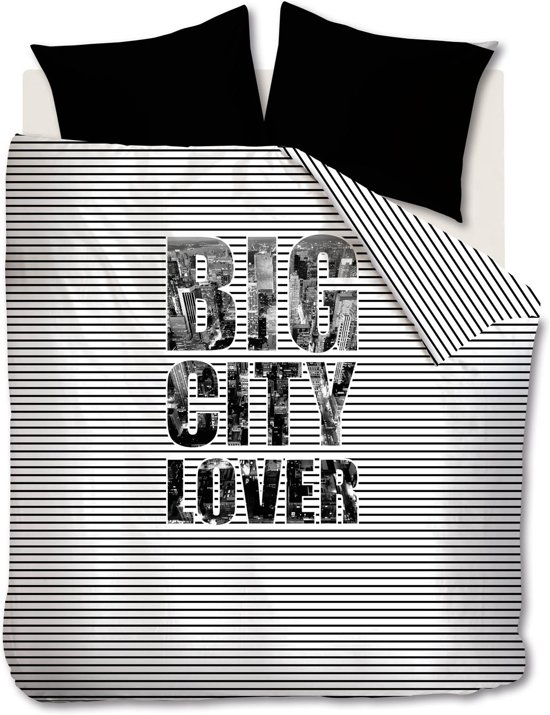 Beddinghouse Studio Big City Lover - Dekbedovertrek - Zwart - Lits-jumeaux - 240x200/220 cm