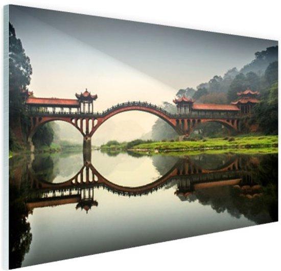 Chinese brug Glas 120x80 cm - Foto print op Glas (Plexiglas wanddecoratie)