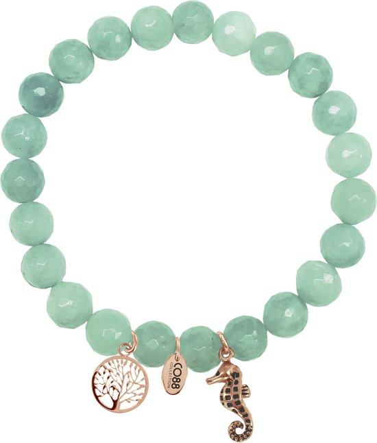 CO88 Collection 8CB-90006 - Armband met bedels - natuursteen en staal - Jade 8 mm - levensboom en zeepaardje - one-size - groen / rosékleurig