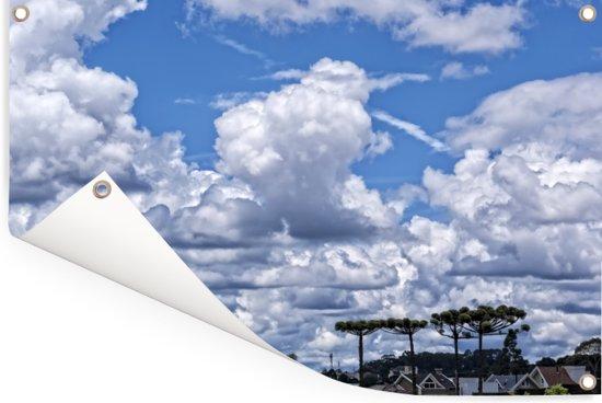 Tropische wolkendek boven de hoge parana pine Tuinposter 120x80 cm - Tuindoek / Buitencanvas / Schilderijen voor buiten (tuin decoratie)