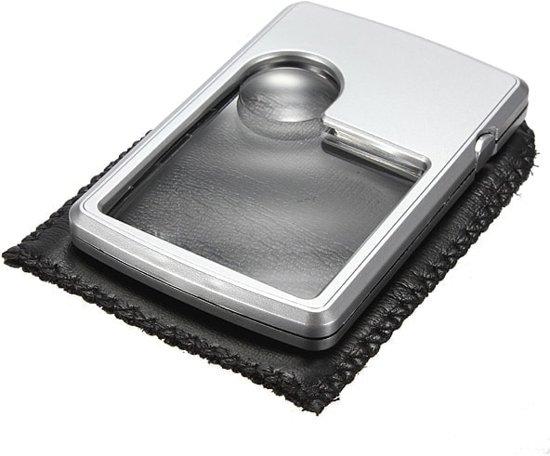 3X 6X LED-vierkante creditcard vergrootglasloupe-vergrootglas