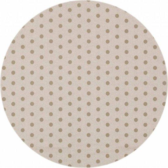 Rond tafelkleed van gecoat afwasbaar tafellinnen beige met taupe stippen160cm kopen van MixMamas