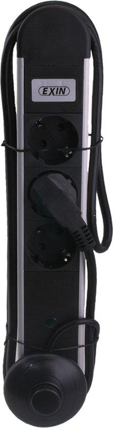 EXIN stekkerdoos 3-voudig met randaarde en voetschakelaar 1.5m 3x1.5 | zwart, aluminium