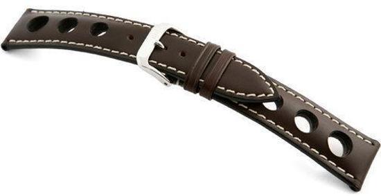 Rios1931 Horlogeband -  Kaluga Donkerbruin - Leer - 22 mm