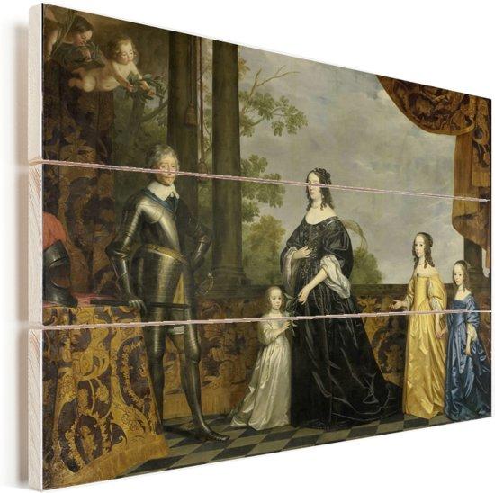 Frederik Hendrik en zijn vrouw Amalia van Solms en hun drie jongste dochters - Schilderij van Gerard van Honthorst Vurenhout met planken 80x60 cm - Foto print op Hout (Wanddecoratie)
