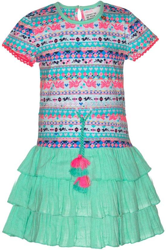 Mim-pi Meisjes Jurk - Blauw met multicolor - Maat 128