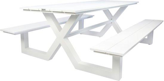 Picknick Tafel Aluminium.Bol Com Maximavida Picknicktafel Kunststof Wit 210 Cm Kunststof