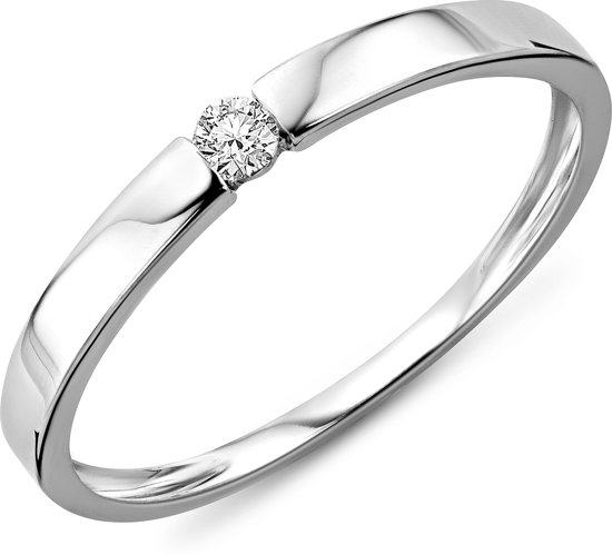 Majestine Solitair Ring 14 Karaat Witgoud (585) met Diamant 0.05ct maat 50