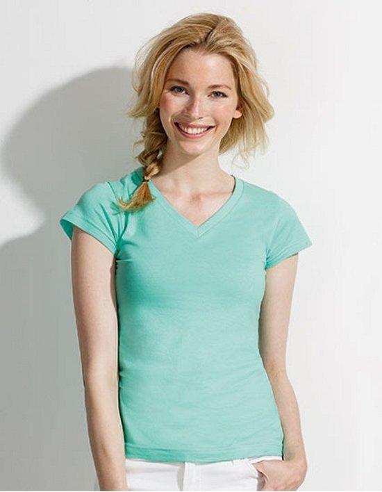 Dames t-shirt  V-hals mint groen 38 (M)