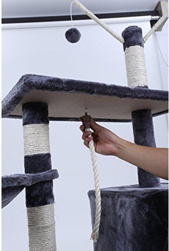 SONGMICS | 134 Cm Hoge Katten Kitten Krabpaal / Klimpaal met groot platform | Kattenhuis met paardestaart en decoratieve ballen | Afm. 134 x 60 x 36 Cm. | Kleur: LICHT GRIJS