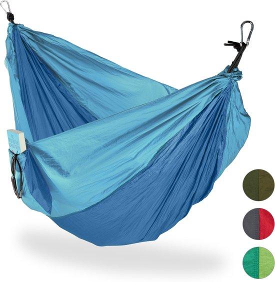 Hangmat Standaard 200 Kg.Relaxdays Hangmat Outdoor Xxl Hang Mat 2 Personen Extreem Licht Camping Tot 200 Kg Blauw