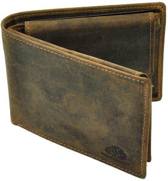 e89408ff79f GreenBurry Herenportemonnee van vintage bruin leer met RFID-beveiliging -  Nevada
