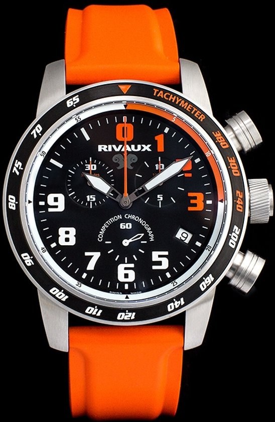 Rivaux Competition Chronograaf - Swiss Made - Horloge - Saffier glas - 46 mm - oranje