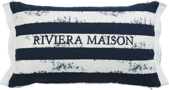 Rivièra Maison  Brave Stripe - sierkussen - 30x50 cm - Donker Blauw