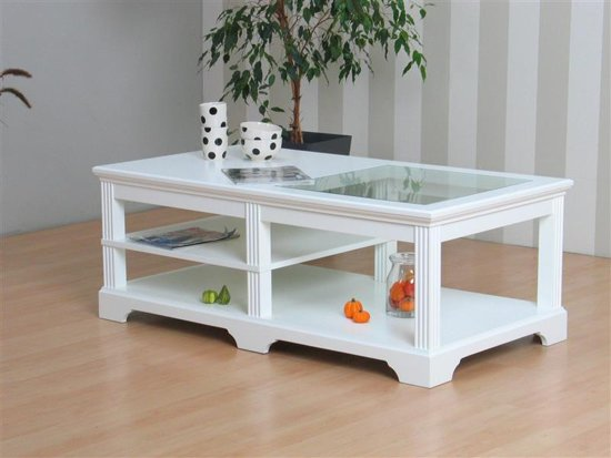 Witte Salon Tafel Met Glas.Bol Com Charlot Salontafel Wit Met Glazen Blad