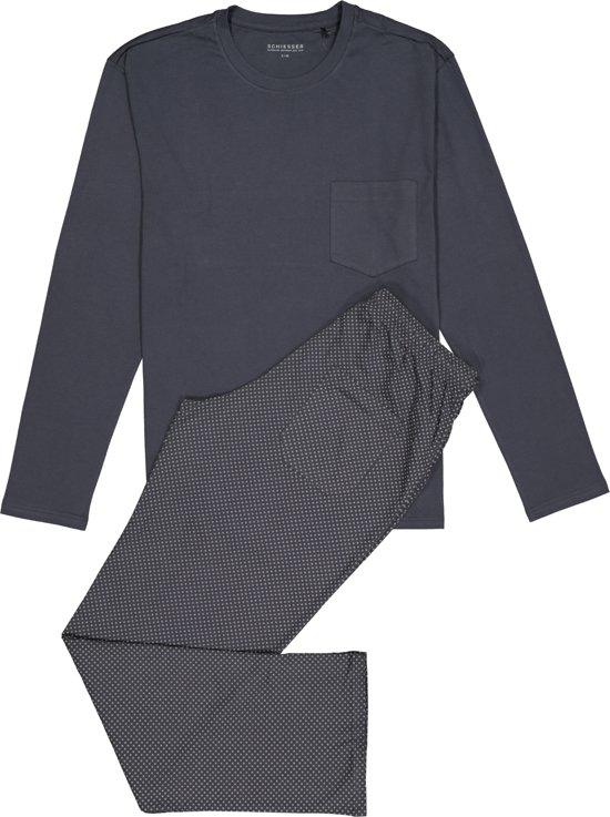 Schiesser Heren Pyjama - Antraciet - R Hals - Maat M