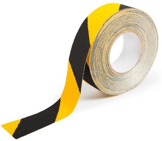 Antislip tape vervormbaar zwart/geel B=50mm L=18,3m
