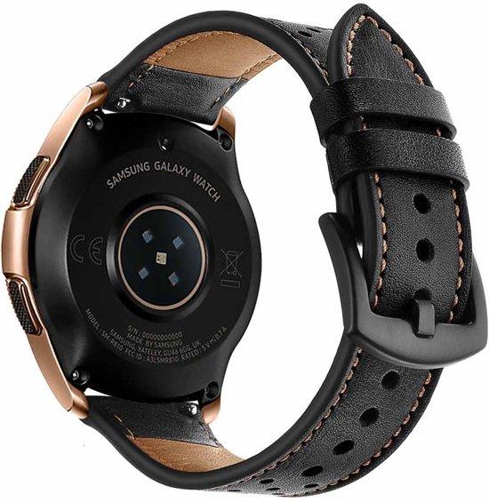 PU Lederen Horloge Band Voor Samsung Galaxy Watch 42 MM - Armband Polsband / Strap / Sportband - Zwart