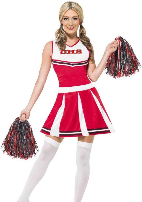 Cheerleader kostuuum - Jurkje & pompoms - Verkleedkleding dames - maat S - 36-38