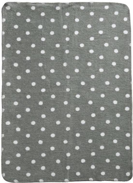 Meyco Classic Stip grijze Wiegdeken - 75x100 cm - Grijs/wit