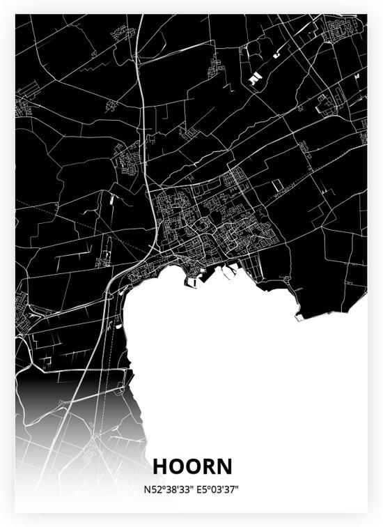 Hoorn plattegrond - A2 poster - Zwarte stijl