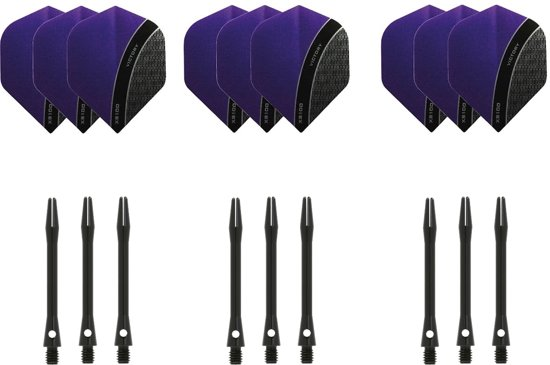 Dragon darts - 3 sets - XS100 Curve - Paars - Darts flights - plus 3 sets - aluminium - darts shafts - zwart - medium