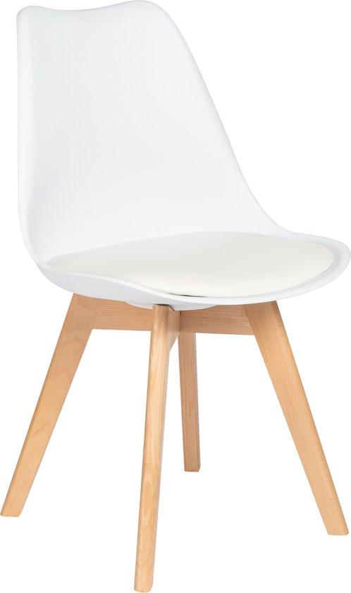 Eetkamerstoel wit kuipstoel met zitvulling for Witte kunstof eetkamerstoelen