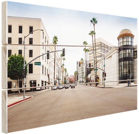 Rodeo Drive Los Angeles Hout 120x80 cm - Foto print op Hout (Wanddecoratie)