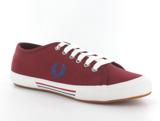Fred Perry Vintage Tennis Canvas - Sneakers - Heren - Maat 40 - Bordeaux Rood;Blauw