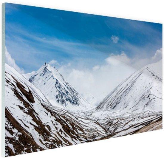 Toppen Himalaya in winter Glas 90x60 cm - Foto print op Glas (Plexiglas wanddecoratie)