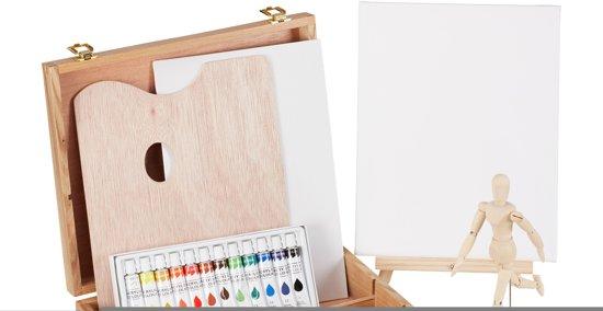 relaxdays schilderskist - schilderskoffer - schilderset - verf - 22-delig - hout . Acryl