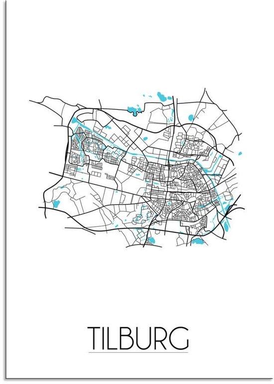 Plattegrond Tilburg Stadskaart poster DesignClaud - Wit - A4 poster