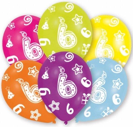 verjaardag 6 jaar bol.| 6 jaar leeftijd ballonnen 6 stuks   verjaardag  verjaardag 6 jaar