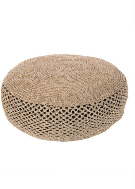 Magnifiek bol.com | Yoshiko - Sittwe - grote ronde poef 80cm - naturel - jute @BO02