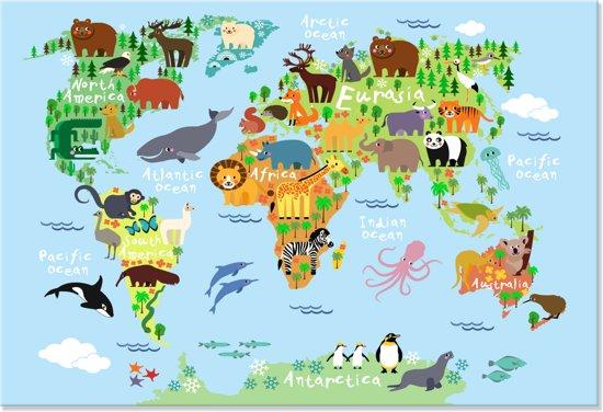 Bol canvas schilderij wereldkaart dieren dierenkaart canvas schilderij wereldkaart dieren dierenkaart kinderkamer 150x100 cm altavistaventures Images