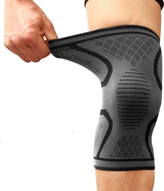 Kniebrace Kniebandage - Knie Bescherming Ortho Compressie - Elastisch Massage - Hardlopen Sporten Wielrennen - Licht / Middelzware Knieklachten - Zwart / Grijs - maat L