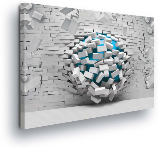 Breaking Brick Wall Turquoise Canvas Print 100cm x 75cm
