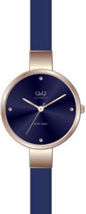 kwaliteit ontwerp beste website wereldwijd verkocht Q&Q Prachtige dames horloge Blauw/rozé QA17J804Y