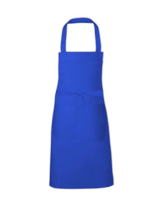 Link Kitchenwear Hobbyschort met handige zak in de kleur Kobalt, afmetingen 80x73cm.