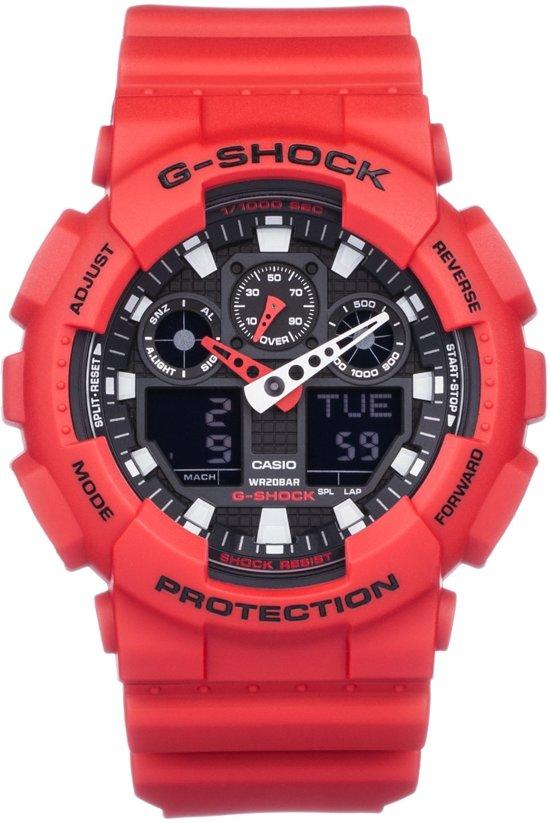 Afbeelding van Rode Casio G-SHOCK Standard Analog Digitale Horloge GA100B 4A - Rood