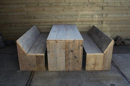 Steigerhout tuinset Design-tafel 180x80- en 2 banken