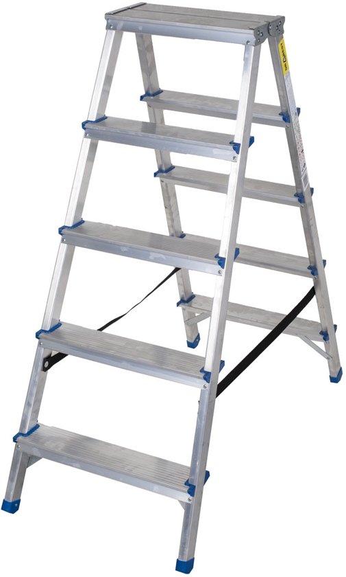 Aluminium dubbelzijdige trapladder, 5 treden