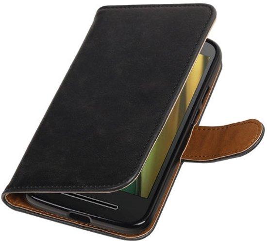 BestCases.nl Zwart Pull-Up PU booktype wallet cover hoesje voor Motorola Moto E3 in Waatskamp